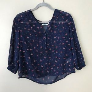 UO Kimchi Blue sheer floral pleated sleeve blouse